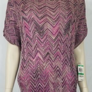 NWT purple Berry ZigZag knit top tunic women Large